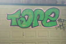 Graffiti on a garage door