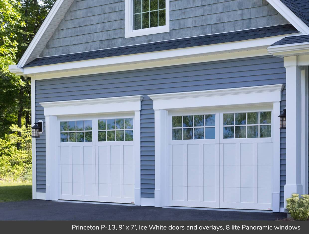 Princeton P-13, 9' x 7', Ice White doors and overlays, 8 lite Panoramic windows